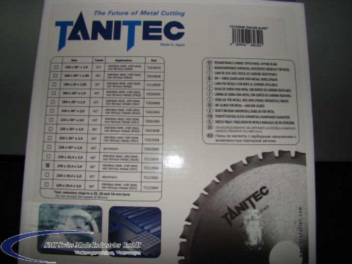 TANITEC HM-Kreissägeblatt 230x25,4x2,0 mm 68 Z